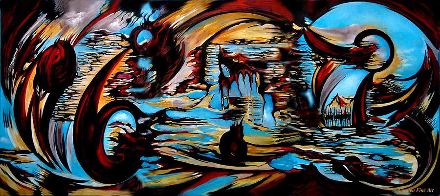 Blue Painting - Incidental Landscape With Secret Reality by Carmen Fine Art