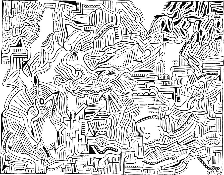 Mazes Drawing - Inclusive by Steven Natanson