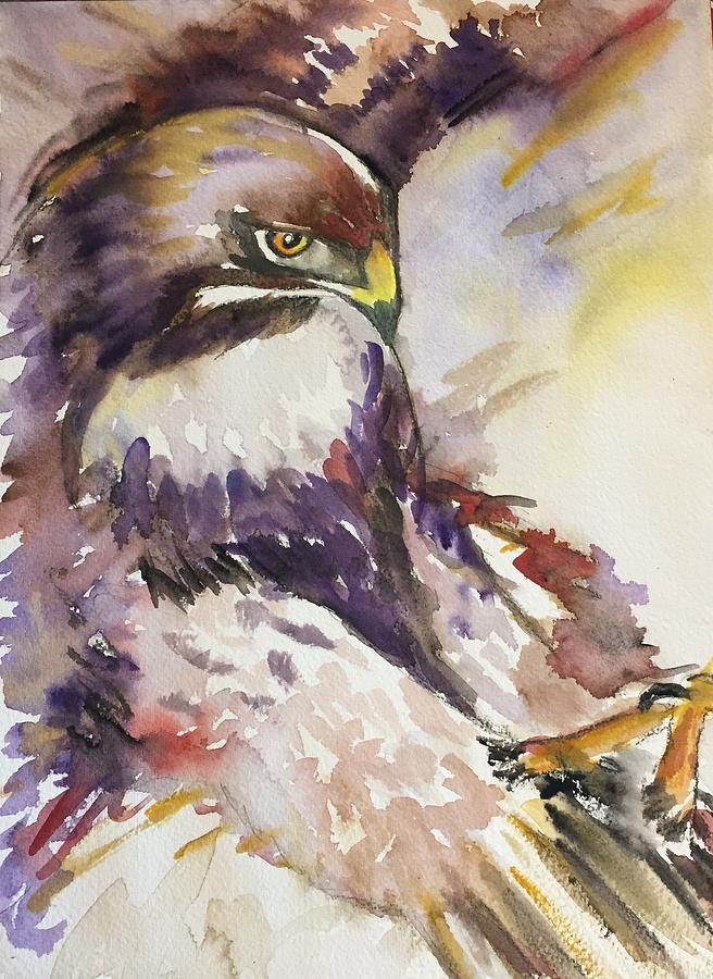 Hawk Painting - Incoming by Kathryn Armstrong