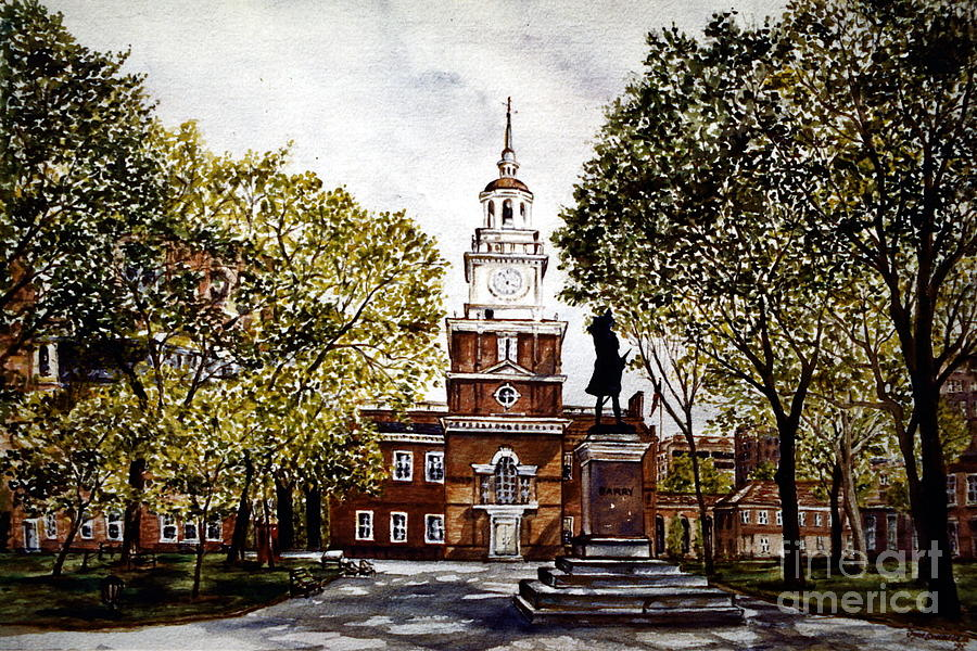 Landscape Painting - Independence Hall by Joyce Guariglia