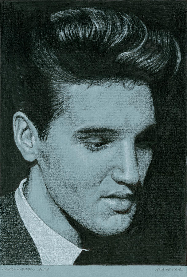 Elvis Drawing - Indescribably blue by Rob De Vries