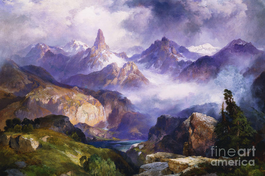 American Artist; American Painting; Cloud; Cloudy; Day; Drama; Dramatic; Ecosystem; Forest; Hudson River School; Idyllic;isolation; Lake; Meteorology; Mountains; Mountain Range; Mountaintop; National Park; Nature; Natural Phenomena;oil Painting; Outdoors; Picturesque; Positive Concepts; Remote; Rock; Romantic Art; Romantic Era; Romanticism; Scene; Scenery; Scenic; Secluded; Seclusion; Sky; Snow Capped; Snow-capped; Water; Weather; Wood; Woodland; Wyoming; Yellowstone National Park  Painting - Index Peak Yellowstone National Park by Thomas Moran