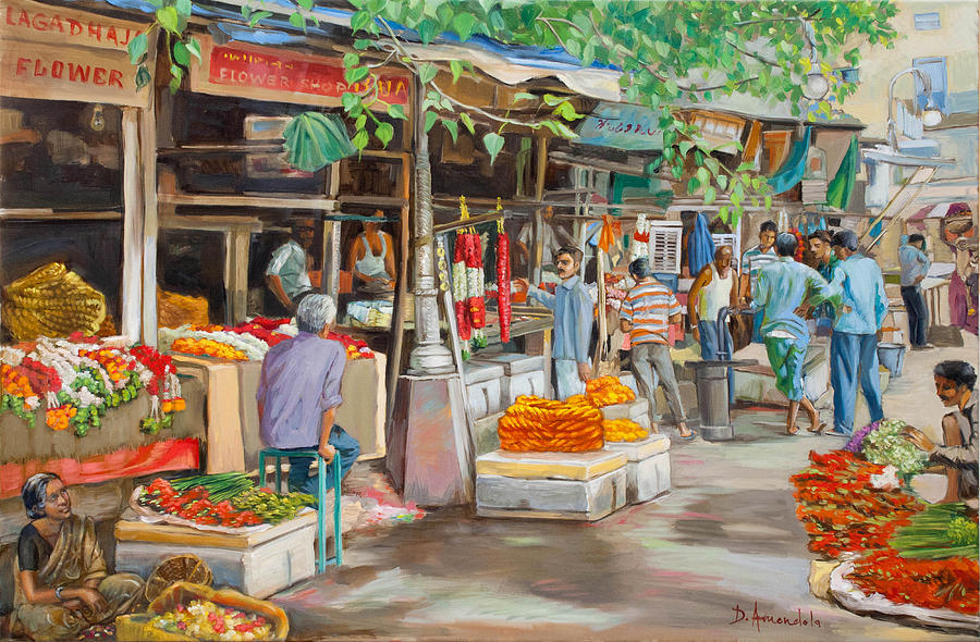 Oil Painting Painting - India Flower Market Street by Dominique Amendola