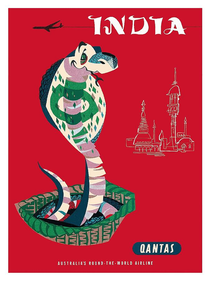 India Digital Art - India Qantas Airways Indian Cobra Vintage Airline Travel Poster by Harry Rogers by Retro Graphics
