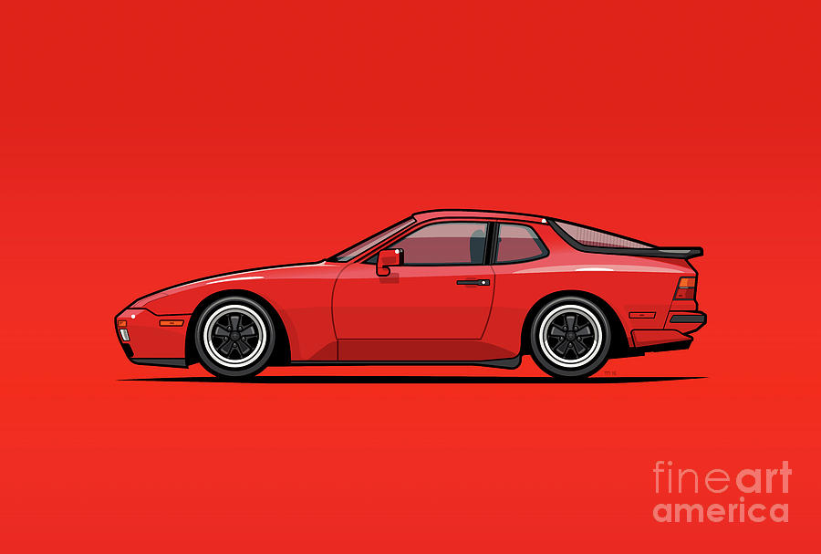 Porsche Digital Art - India Red 1986 P 944 951 Turbo by Monkey Crisis On Mars