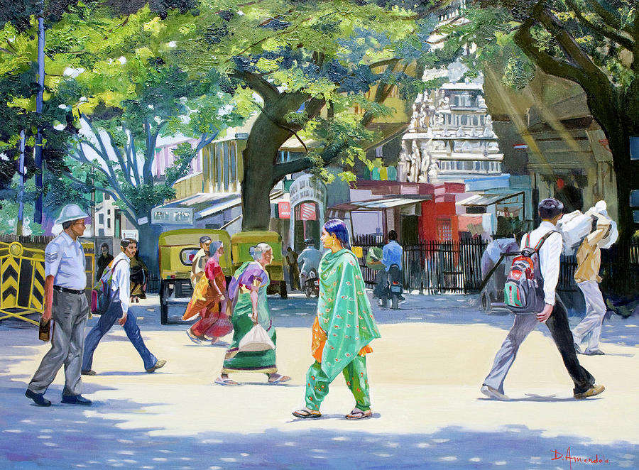 Cityscapes Painting - India Street Scene 2 by Dominique Amendola
