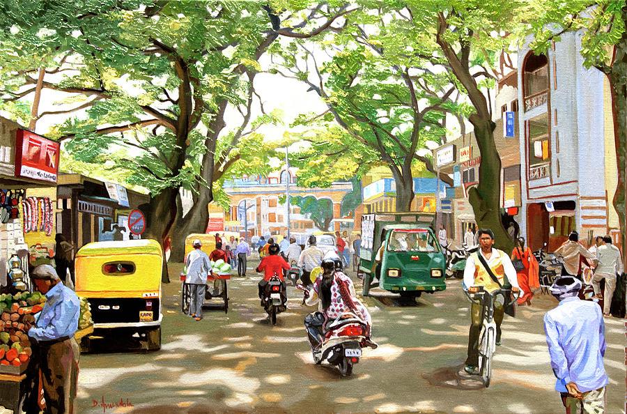 India Painting - India Street Scene by Dominique Amendola