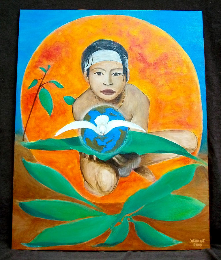 Indian And The Planet Earth Painting by Susana Antunes