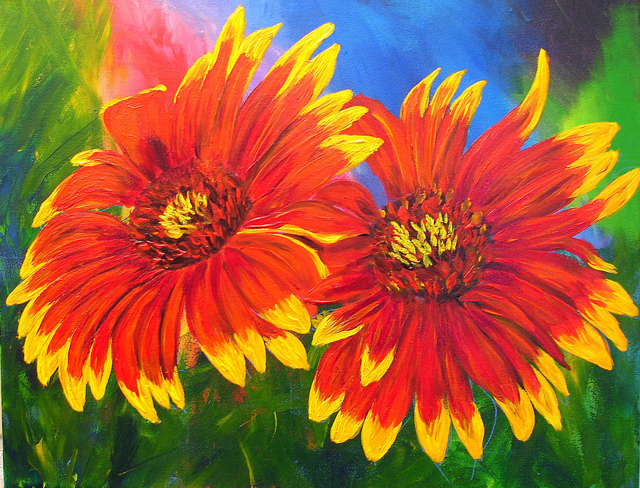Flowers Painting - Indian Blanket Flowers by Mary Jo Zorad