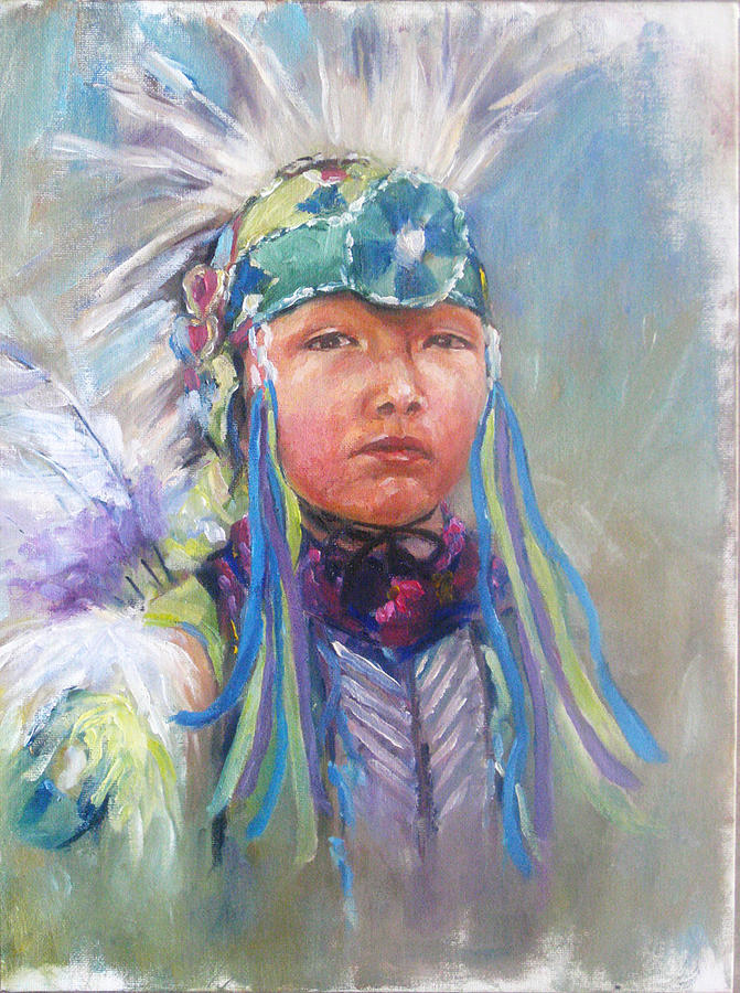 Indian Boy Painting by Bin Feng