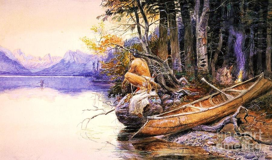 Reproduction Painting - Indian Camp Lake Mcdonald by Pg Reproductions