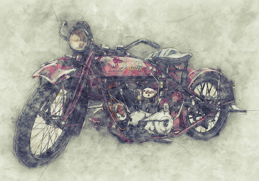 Indian Chief 1 - 1922 - Vintage Motorcycle Poster - Automotive Art Mixed Media