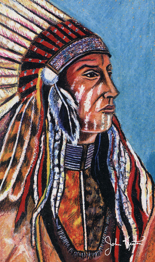 American Indian Painting - Indian Chief by John Keaton