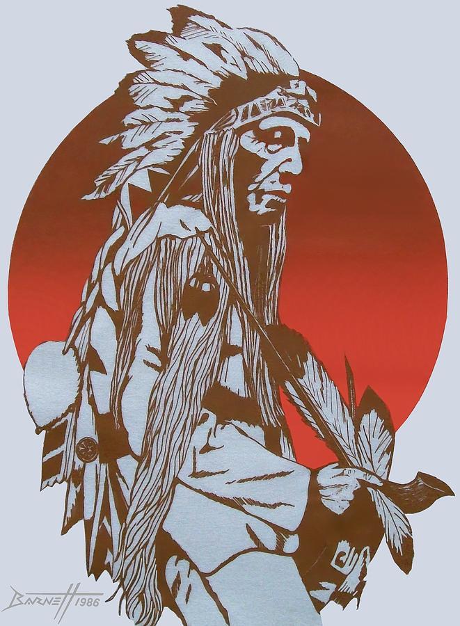 Indian Mixed Media - Indian Chief by Mark Barnett