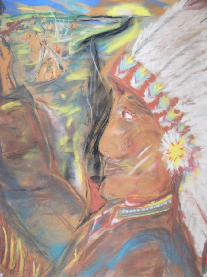 Indian Painting - Indian Chief On French Velvet by Bob Smith