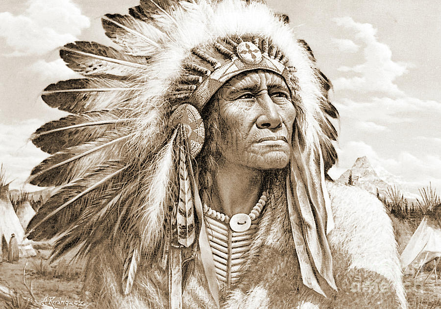 Native Photograph - Indian Chief With Headdress by Gary Wonning