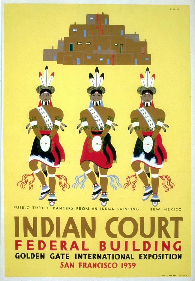 Indian Court - Golden Gate International Exposition, San Francisco - Vintage Poster Painting