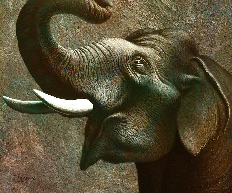 Elephant Painting - Indian Elephant 3 by Jerry LoFaro