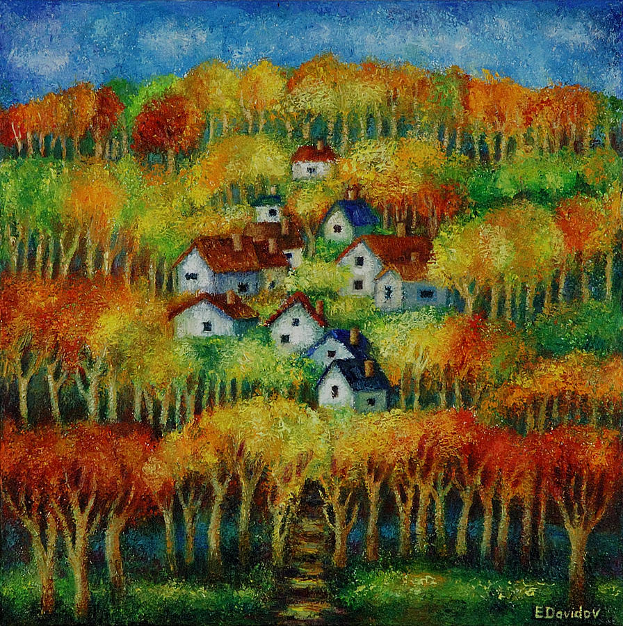 Landscape Painting - Indian Fall No 1. by Evgenia Davidov