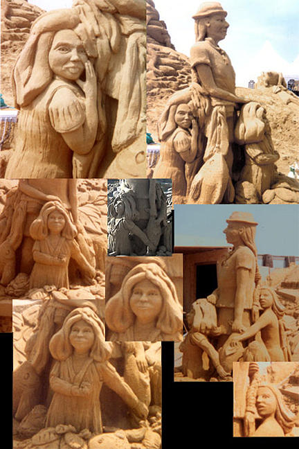 Sand Sculpture Sculpture - Indian Fishing Village Family by John Gruber