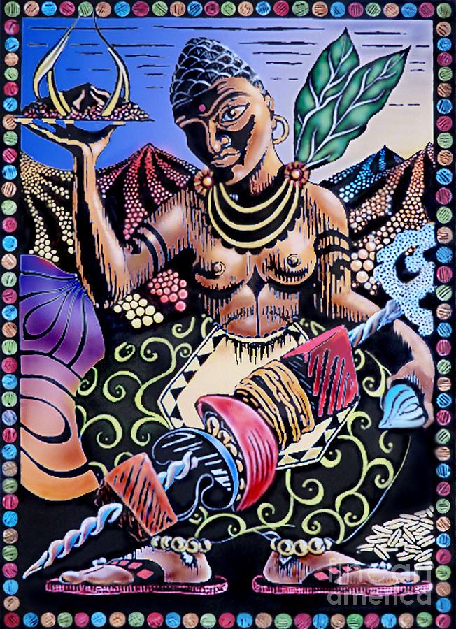 Indian Food Painting by Debbie  Diamond