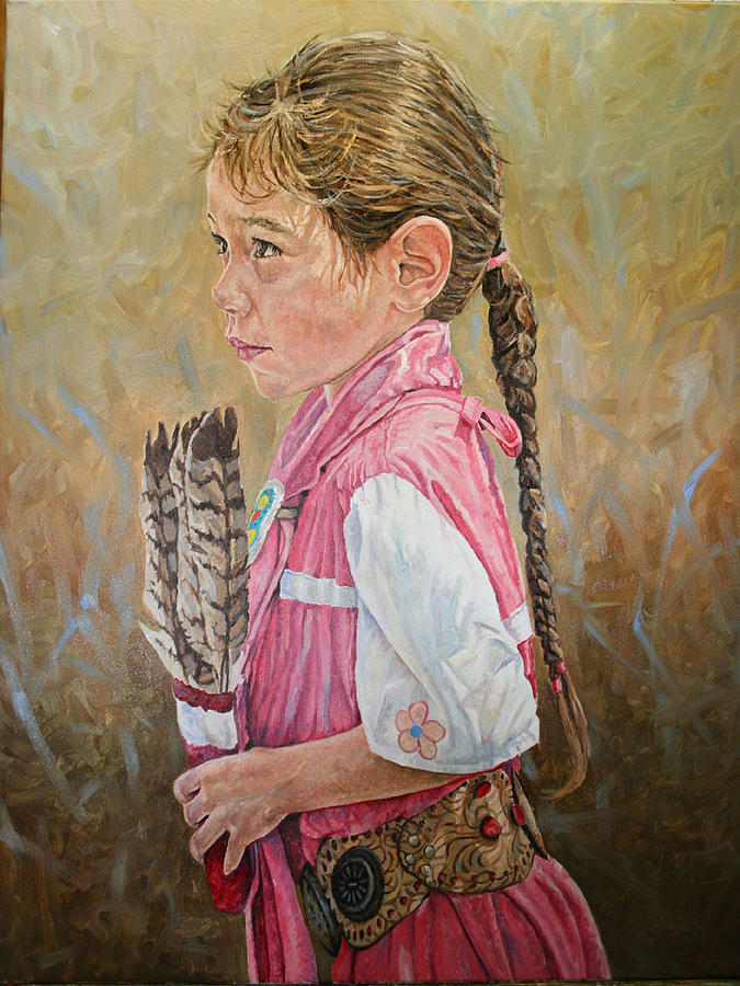 American Indian Painting - Indian Girl by Jason  Swain