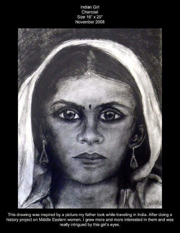 Indian Girl Drawing - Indian Girl by Lauren  Pecor