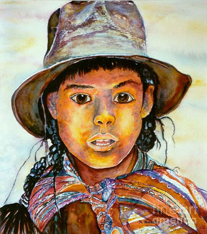 Southwest Artwork Painting - Indian Girl by Norma Boeckler