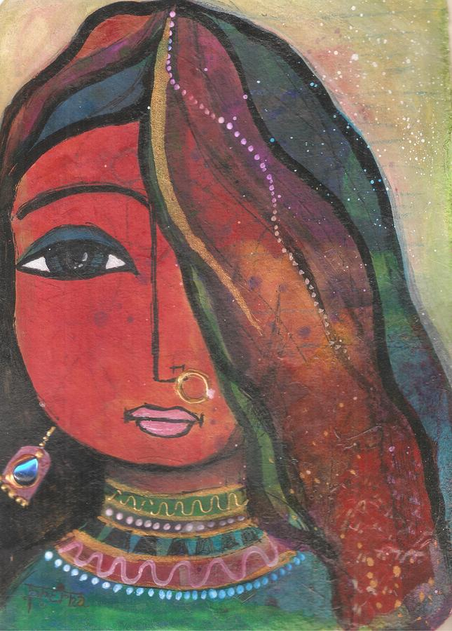 Indian Girl Mixed Media - Indian Girl With Nose Ring by Prerna Poojara