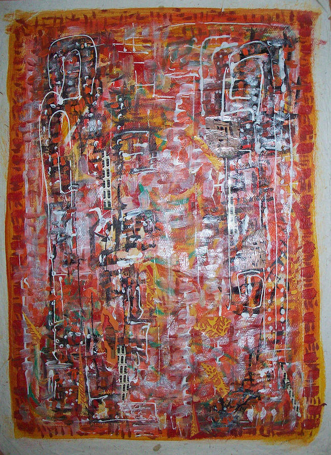 Abstract Painting - Indian Light by Helene  Champaloux-Saraswati