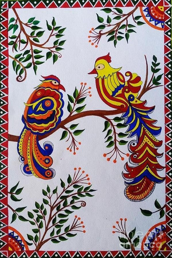 indian madhubani painting colorful birds painting by dhanashree mahesh