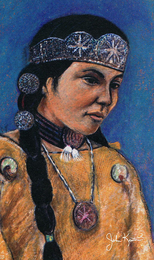 American Indian Painting - Indian Maiden by John Keaton