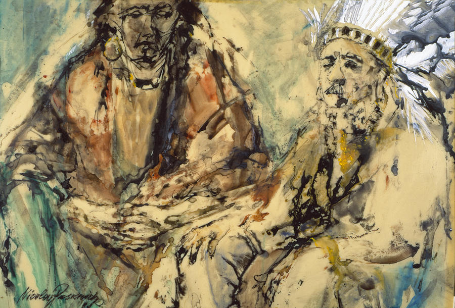 Native American Painting - Indian Meeting by Nicolay Paskevich