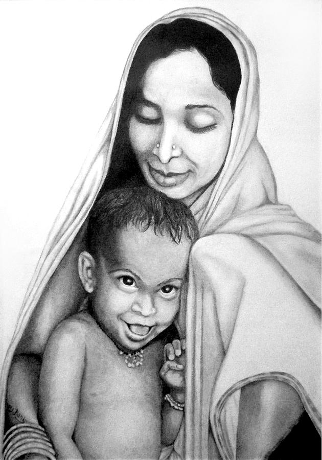 Indian Mother And Child by Patricia Banks