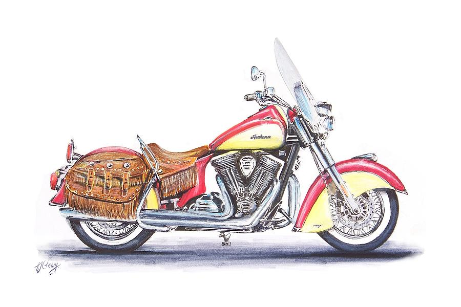 Motorcycle Drawing - Indian Motorcycle by Terence John Cleary