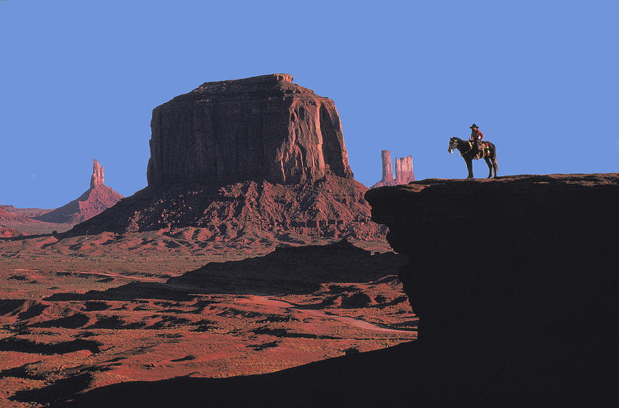 Indian On Horse In Monument Valley Photograph