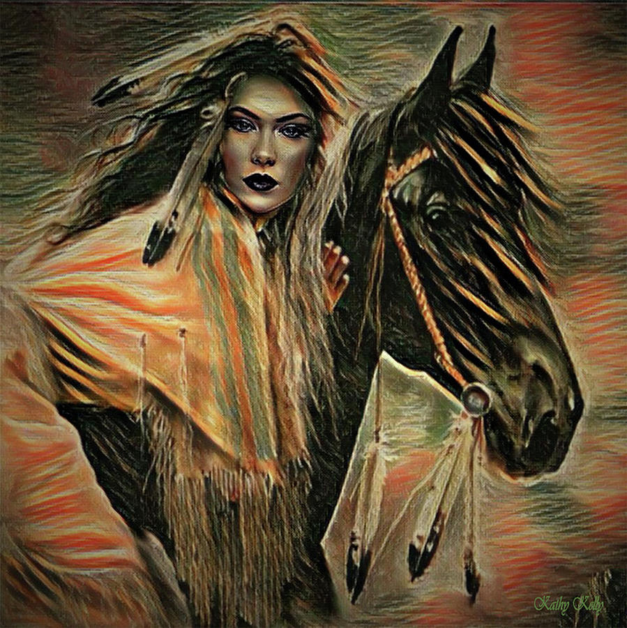 Indian Digital Art - American Indian On Horse by Kathy Kelly