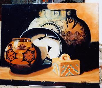 Indian Pots Painting - Indian Pots     Santa Clara by Nancy Waller