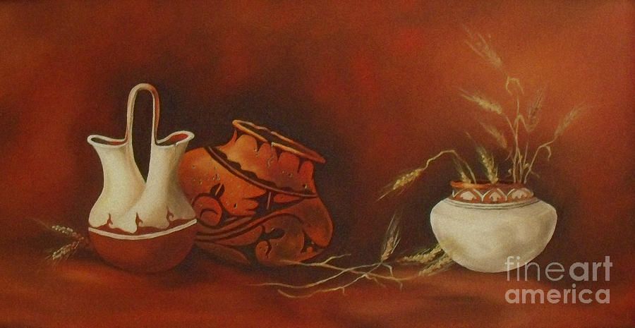 Indian Pottery With Wheat Painting By Ann Kleinpeter