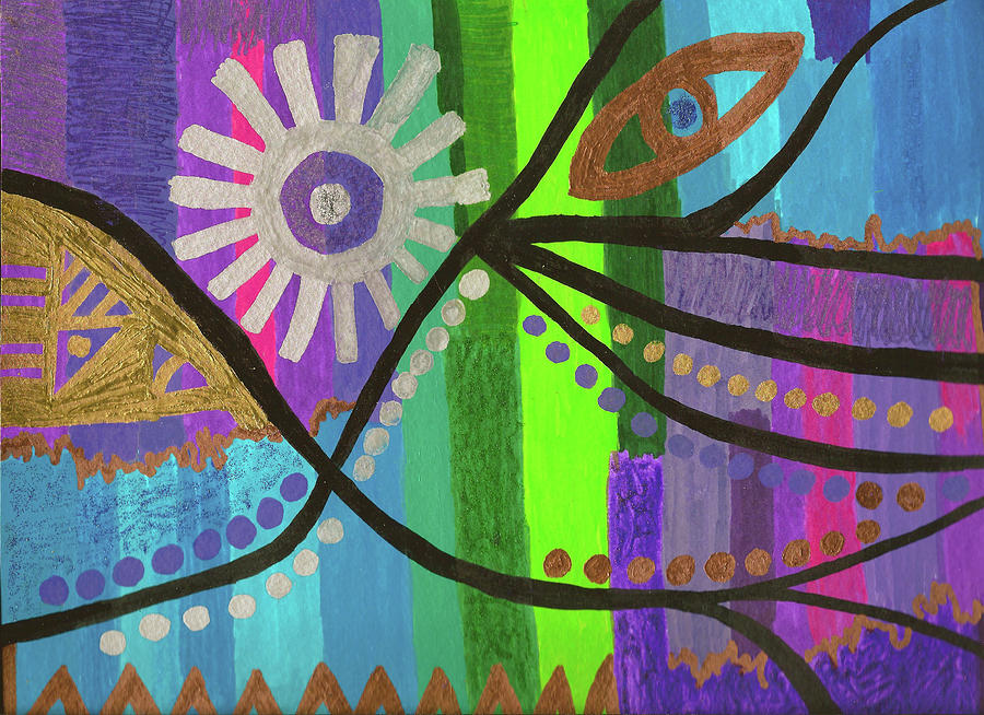 Abstract Drawing - Indian Rainbow Dance by Susan Schanerman