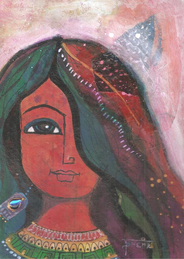 Indian Woman Mixed Media - Indian Rajasthani Woman by Prerna Poojara