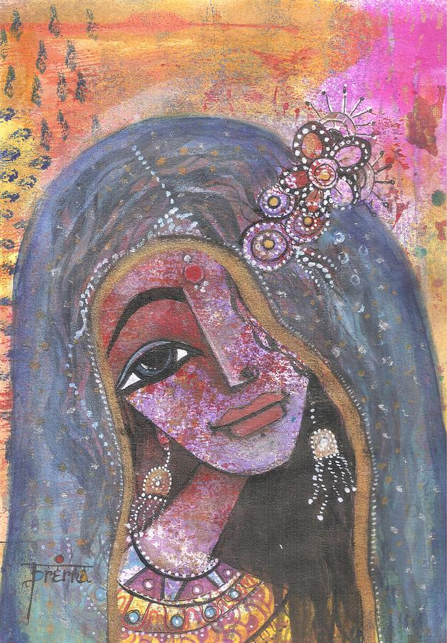 Indian Woman Mixed Media - Indian Rajasthani Woman With Colorful Background  by Prerna Poojara