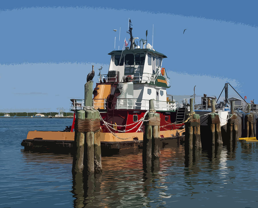 Tug Painting - Indian River by Allan  Hughes