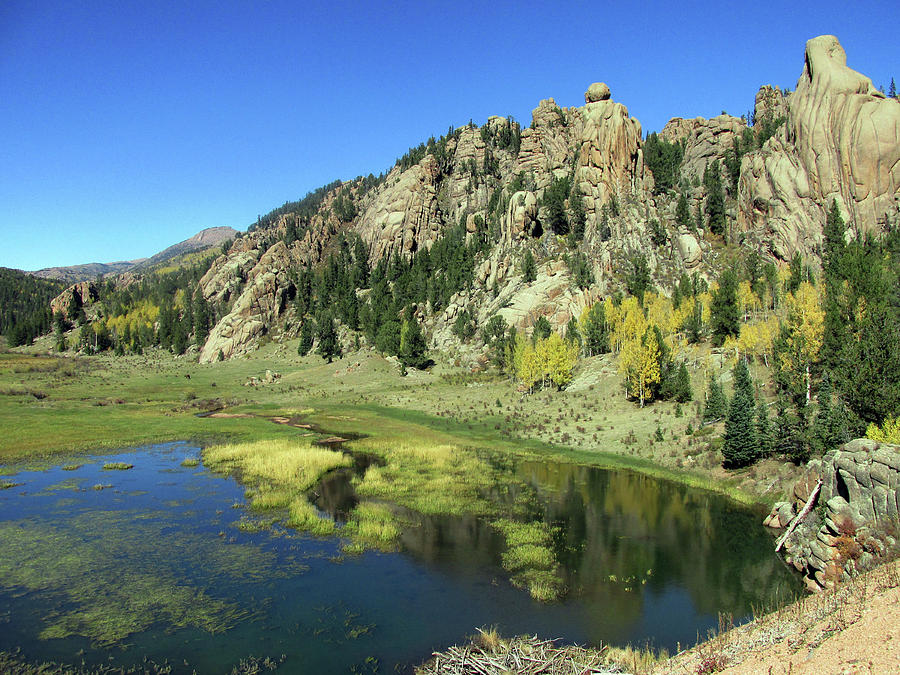 Indian Rock Formations Reflected in a Colorado Pond by Julia L Wright