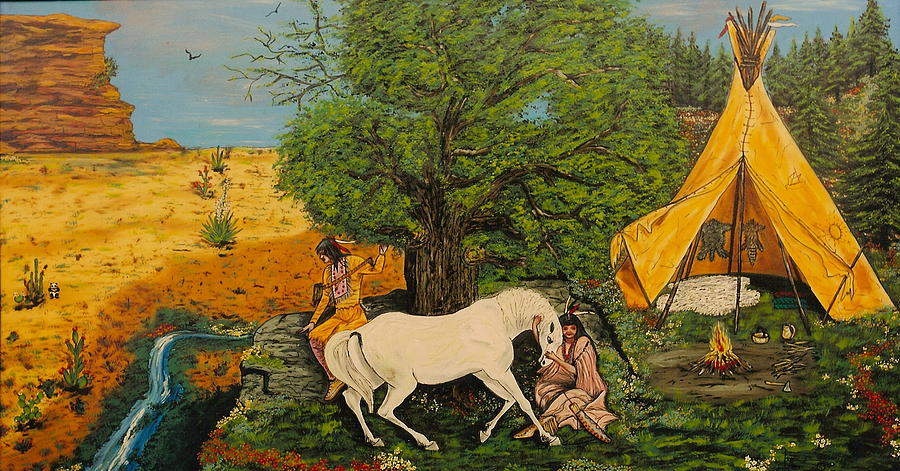 Horses Painting - Indian Romance by V Boge