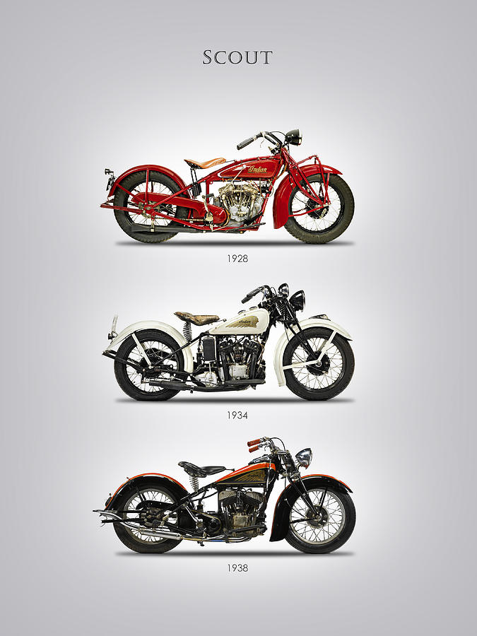 Indian Scout Photograph - Scout Trio by Mark Rogan