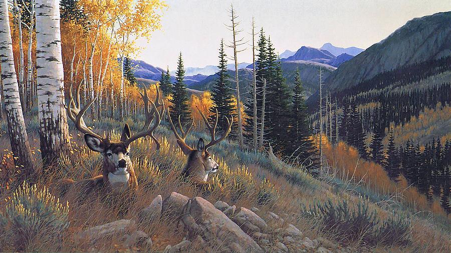 Indian Summer Mule Deer Michael Sieve Painting By Movie