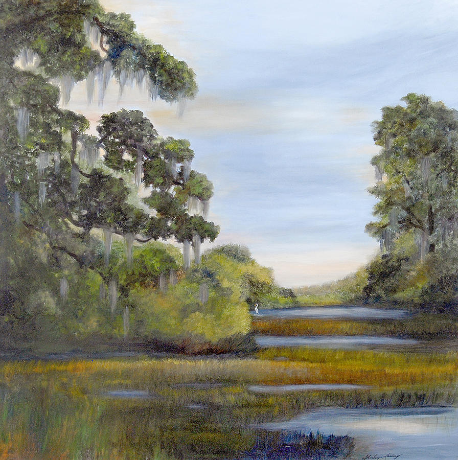 Coastal Marsh Scape Including Giant Live Oaks With Long Moss Trails Painting - Indian Summer by Shirley Lawing