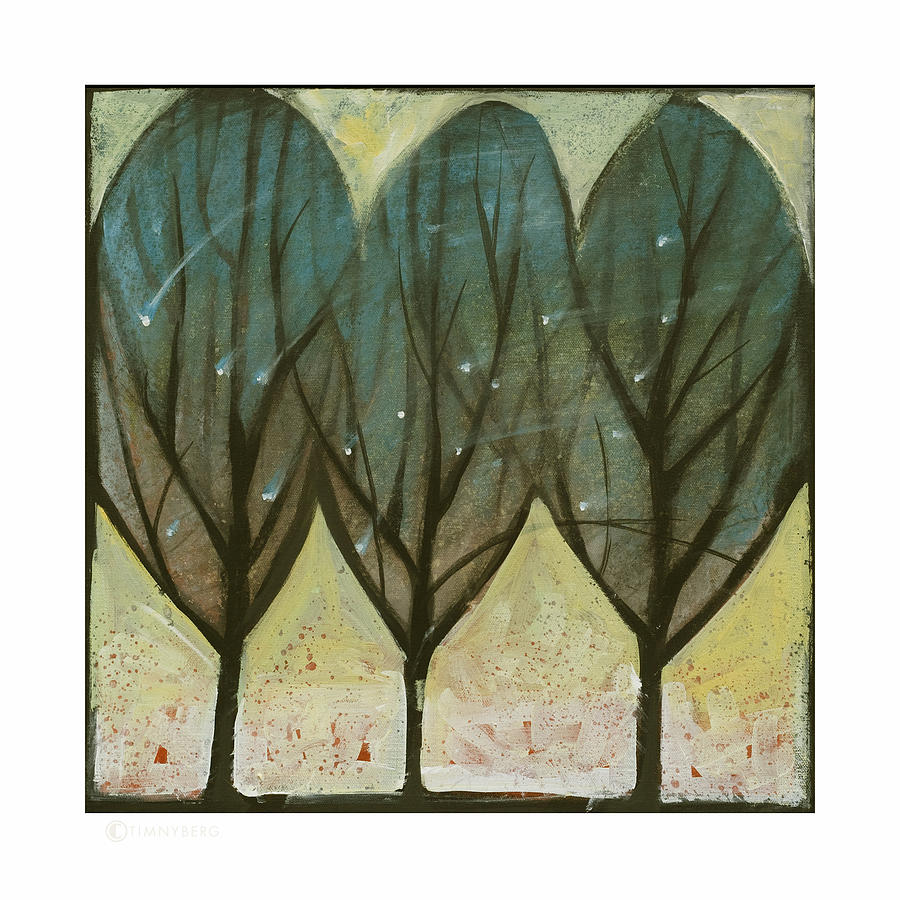 Trees Painting - Indian Summer Snow by Tim Nyberg