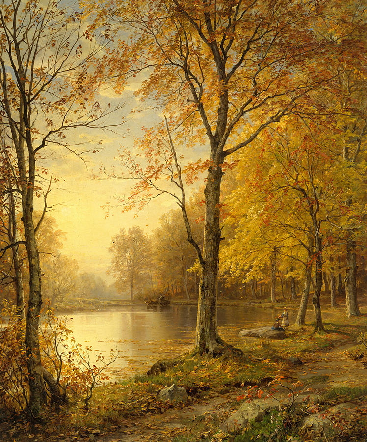 Hudson River School Painting - Indian Summer by William Trost Richards